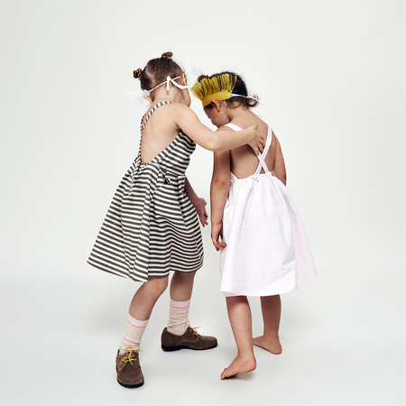 KIDS Macarons DELIA DRESS - EARL GREY
