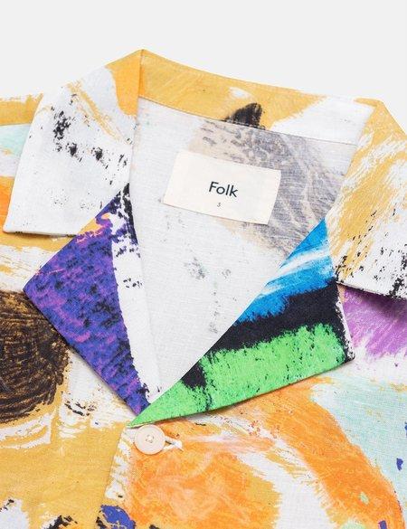 Folk Clothing x Alfie Kungu Soft Collar Shirt with Flare Print - Marigold