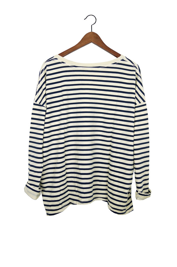 Skargorn #62 Long Sleeve Tee, Cream Marine Lines