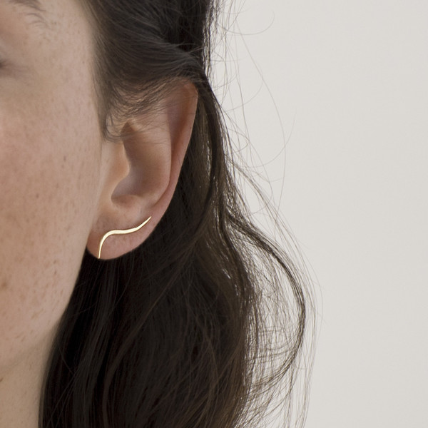 Knobbly Studio Calligraphic Ear Climbers, Gold