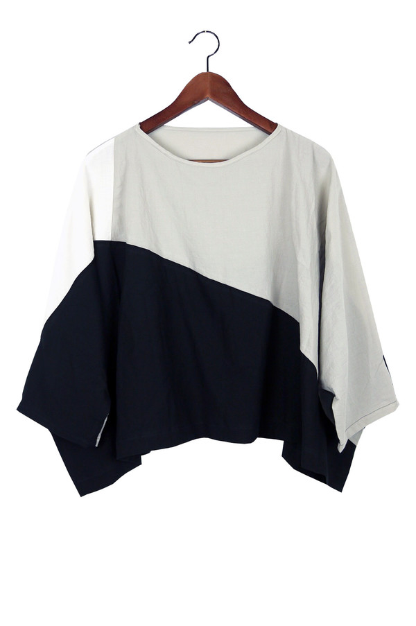 Uzi NYC Stone Colorblock Dissection Top