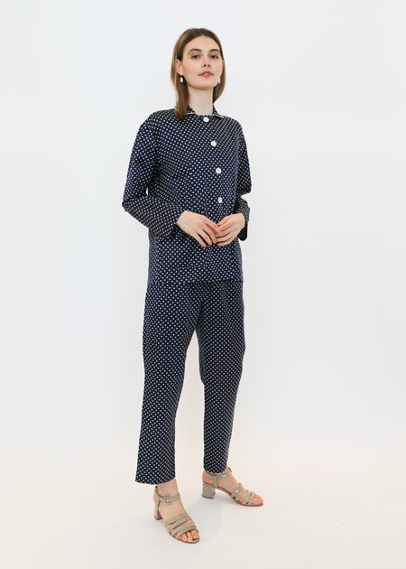 Raquel Allegra Relaxed Blazer in Navy/Mint