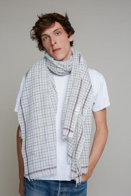 Moismont Plum white and green Grid large Cotton Scarf