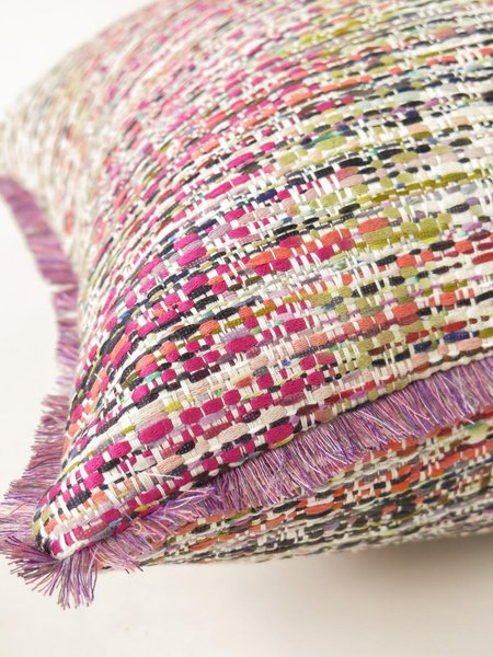 Erica Tanov tapestry throw pillow - pink confetti tweed