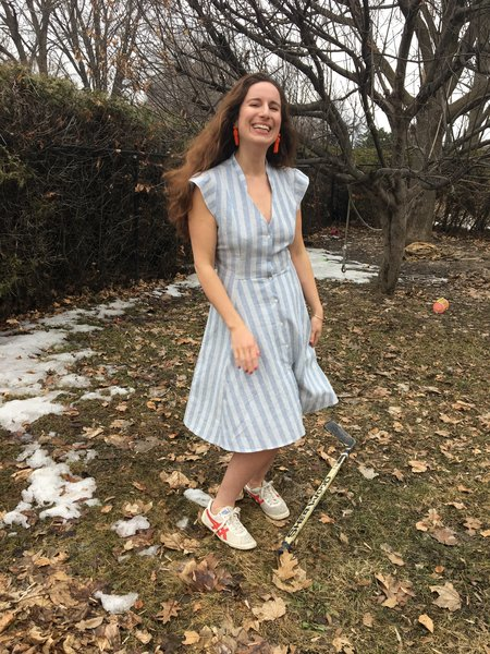 Meemoza Fisher Linen Dress - Blue Stripes