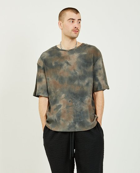 s.k. manor hill SS Rib T-Shirt Grey - TIE DYE