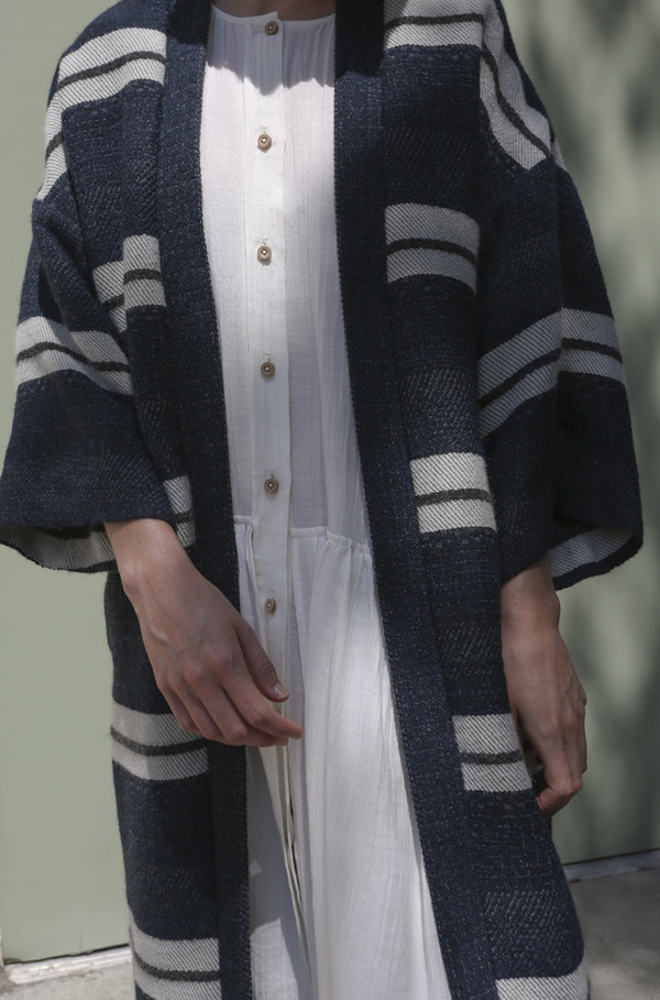 Horses Atelier Robe Coat in Wool Stripe