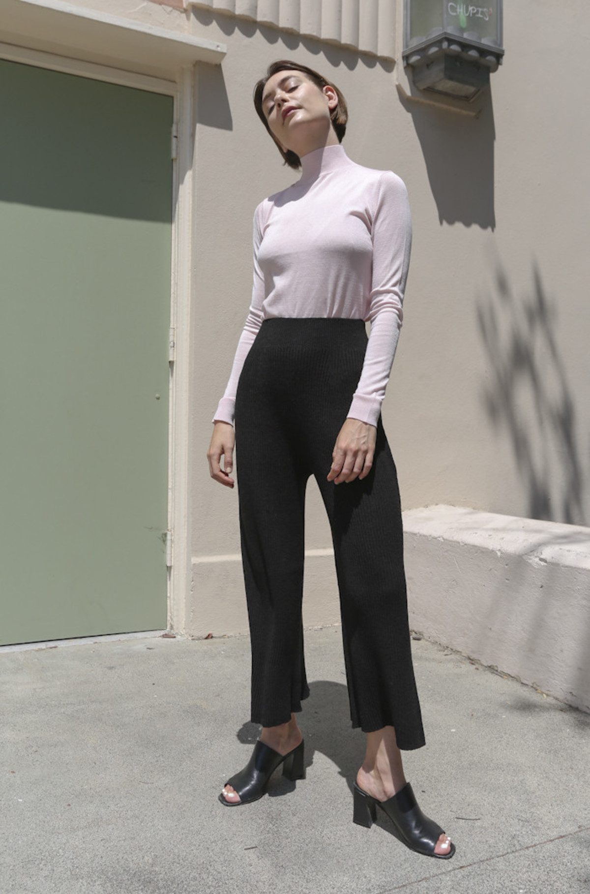 objects without meaning sweater rib pant in black garmentory