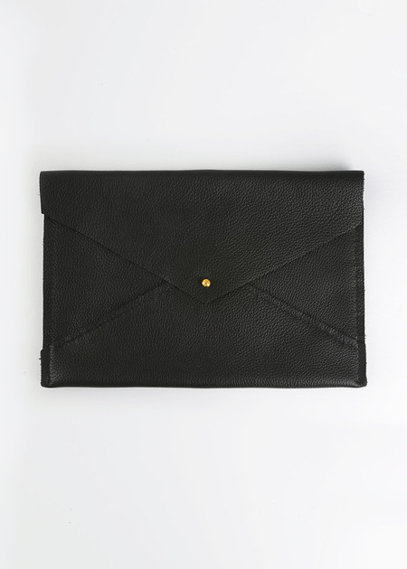 Sylvia Soo Leather Black Envelope Clutch