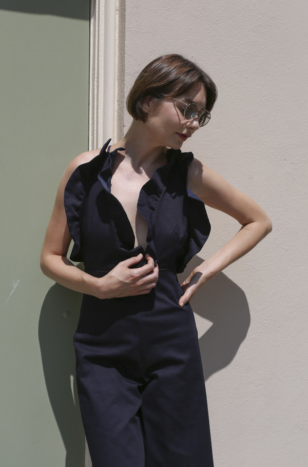 Toit Volant Flora Lily Midi Jumpsuit in Navy