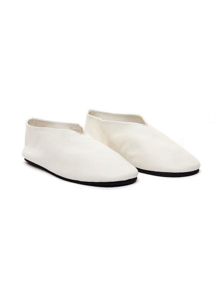 Jil Sander White Leather Slippers