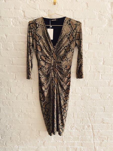 [pre-loved] Roberto Cavalli Printed Midi Dress - brown
