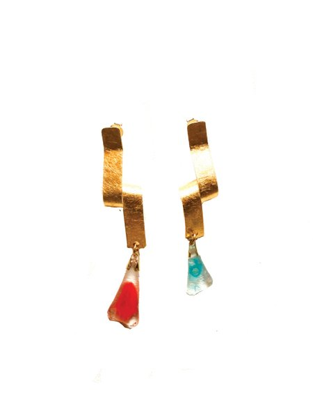 Levens Twist Dore Earrings - Gold Plated/Glass