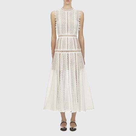self portrait Lace Panel Midi Dress - White