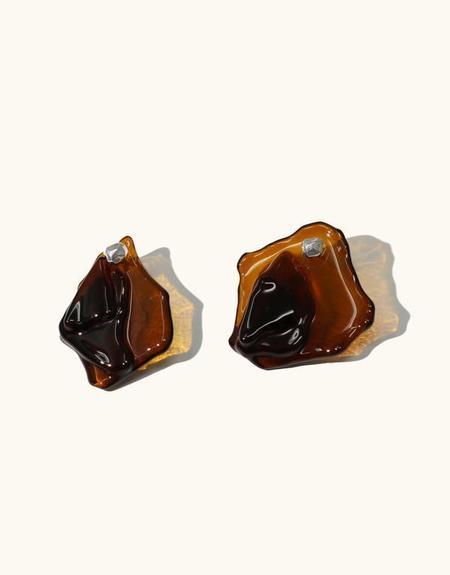 Cled Plateau Earrings - Brown Amber