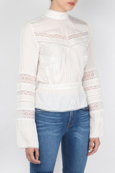 Derek Lam 10 Crosby Long Sleeve High Collar Blouse - White