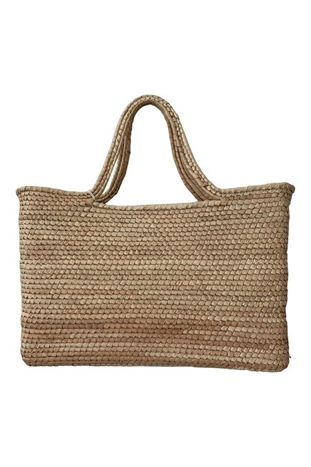 SEEKER HAND WOVEN STRAW TOTE - NATURAL