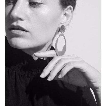 Modern Weaving Large Oval Loop Earrings - Brass