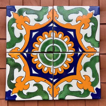Made Solid Talavera Tile Coaster Set - Green/Yellow/Blue