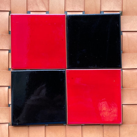 Made Solid Talavera Tile Coaster Set - Red/Black