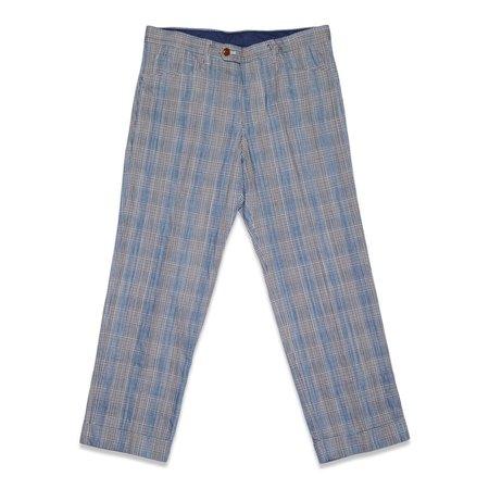 TSS GLEN PLAID COTTON LINEN L-POCKET PANTS - BLUE