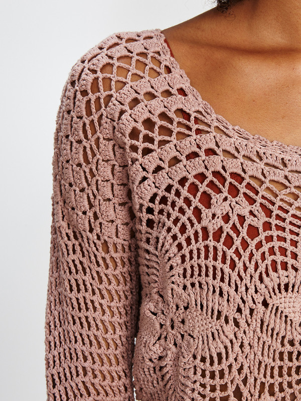 Harare CROCHET LONG SLEEVE TOP / ROSE