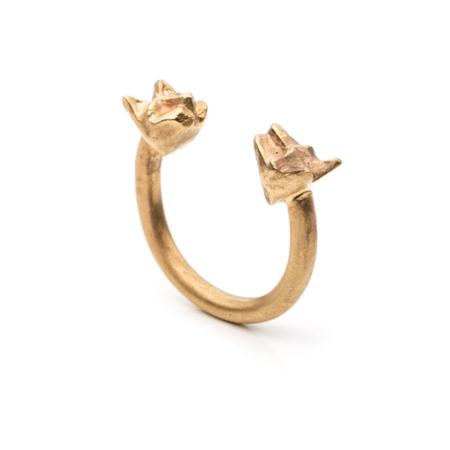 By Natalie Frigo Double Cats Ring - brass