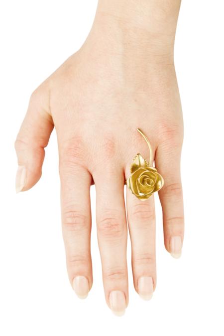 VIBE HARSLOF x FACETASM Goldplated Rose Ring - Gold