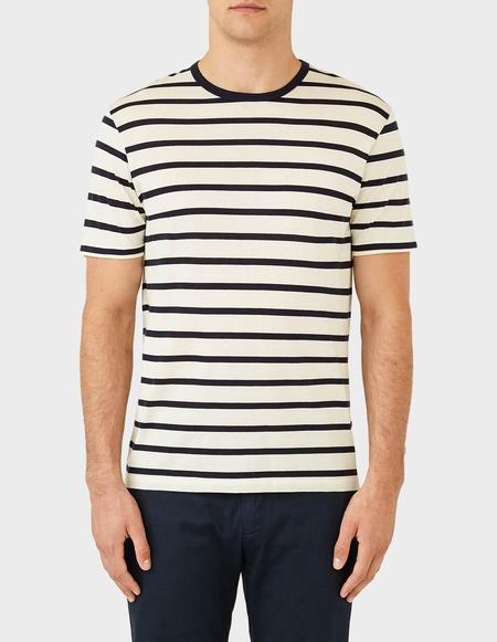 Sunspel Short Sleeve Striped Crew Neck T-Shirt