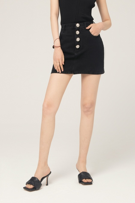 ALESSANDRA RICH MINI SKIRT WITH CRYSTAL BUTTONS - DENIM