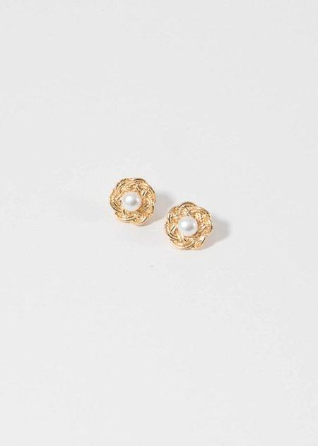 Mirit Weinstock Mizuhiki flowers & pearls earrings - Gold