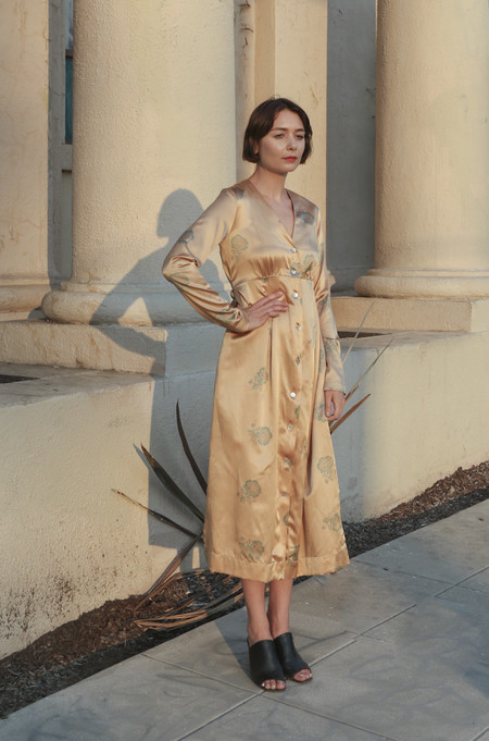 Horses Atelier Button-Front Tie Dress in Gold Peony