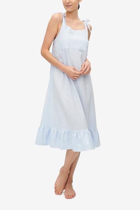 The Sleep Shirt Tie Strap Dress Linen Blend - Capri Blue