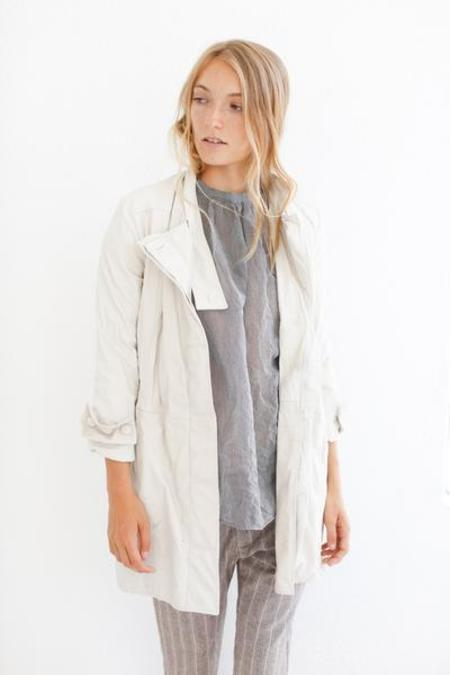 Hazel Brown Leather Coat - Ivory
