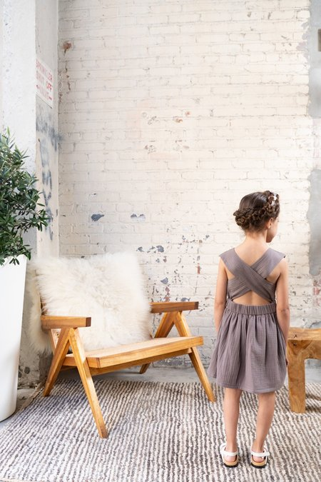 Kids Pinafore Gauze Dress - Stone Grey