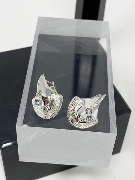 MM Druck El Toro Earrings - Sterling/Aquamarine