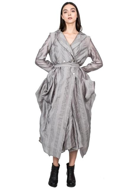 Striped Bustle Back Semi Sheer Coat - grey