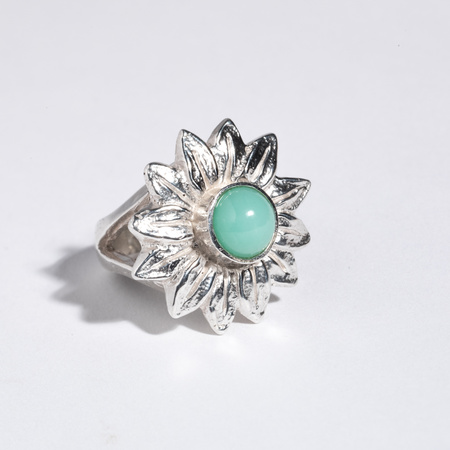 Saint Claude x Freda Sunflower Ring - Sterling/Chrysoprase