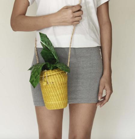Slate Straw Pineapple Bag