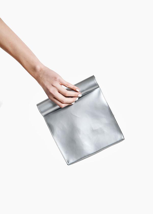 S M K - Grey Foldover Bag