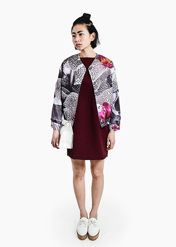 S M K - Grey Orchid Bomber Jacket