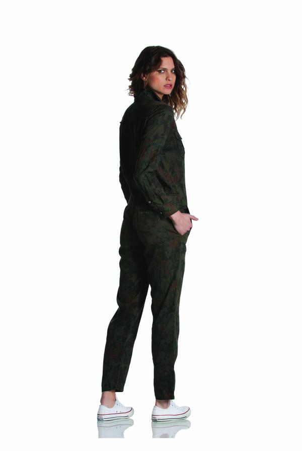Etienne Marcel Floral Print Green Denim Utility Jumpsuit