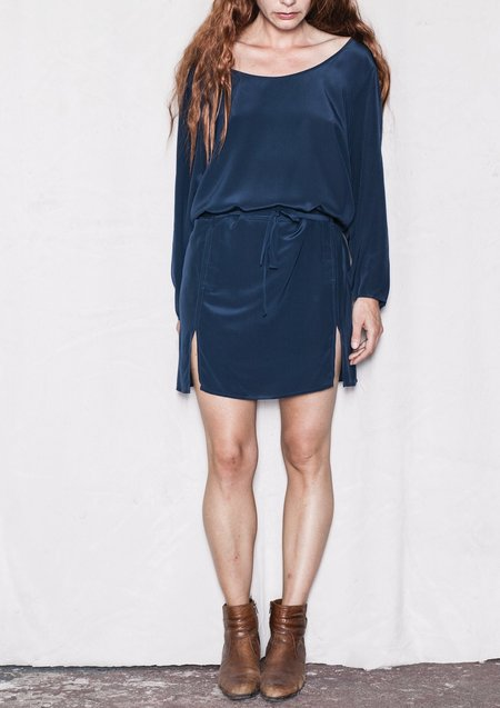 Berenik Rollup Sleeves Silk  Dress - Dark Blue