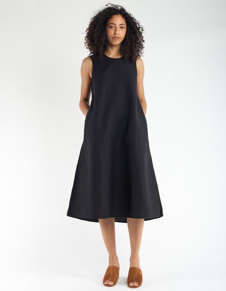 ALI GOLDEN CREW NECK DRESS - BLACK