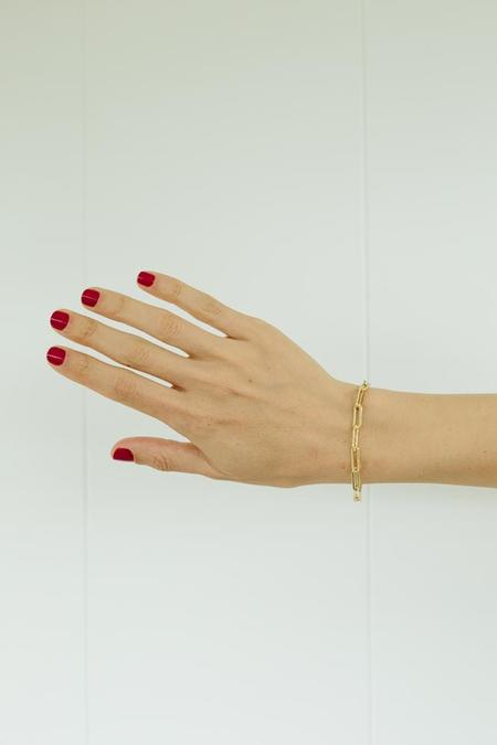 Gabriela Artigas Gold Rectangular Chain Link with Tusk Clasp Bracelet - 14K plated