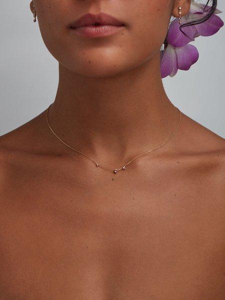 wwake pink tourmaline three step necklace - 14k yellow gold
