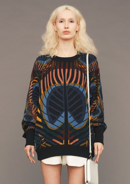 SWEATER OVERSIZED - KNIT PEACOCK color print