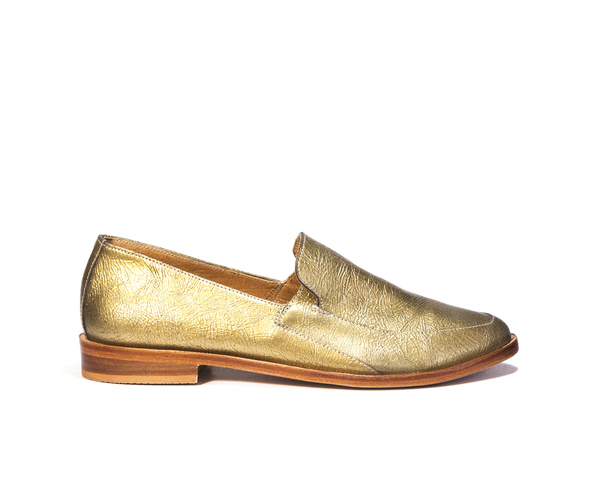 Zou Xou Loafer in Crackled Gold