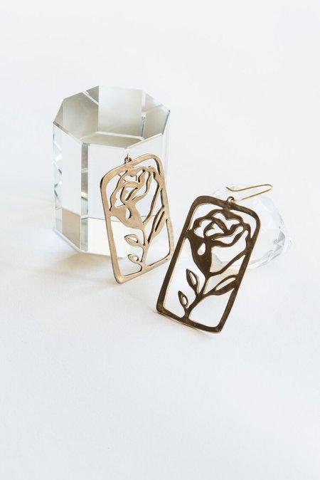 Yu Yu Shiratori La Rosa Earrings - brass