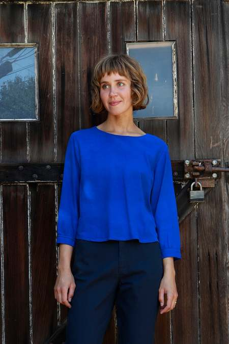 Me & Arrow Cuff Sleeve Blouse - Azul Blue